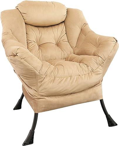 GOLDSUN Velvet Fabric Accent Chair Lazy Reclining Armchair