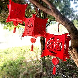 Pannow New Year Decoration Red Lantern Chinese Paper Lanterns Home Shop Wedding Festival Decoration