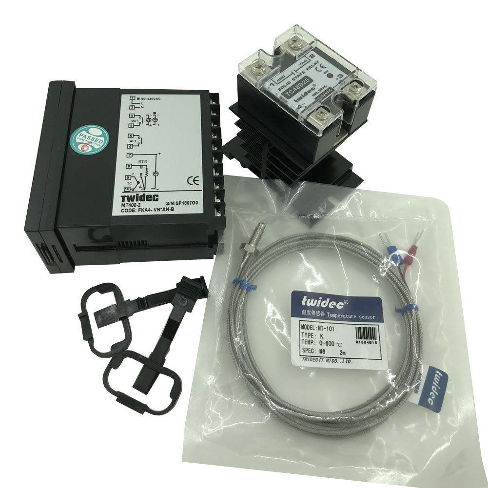Twidec MT400-2 PID Temperature controller, 90-240VAC, 0-400 °C, Input: K, Output: SSR(DC12V);K screw probe, probe lead length 2M(78.74 inches);TC48D25 SSR 25A;Black heat sink