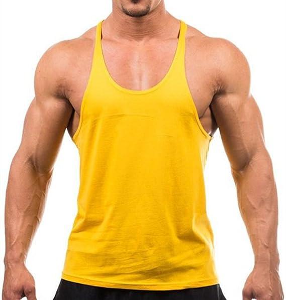 Areshion - Camiseta de Tirantes en Blanco para Hombre, algodón, para Fitness, Gimnasio