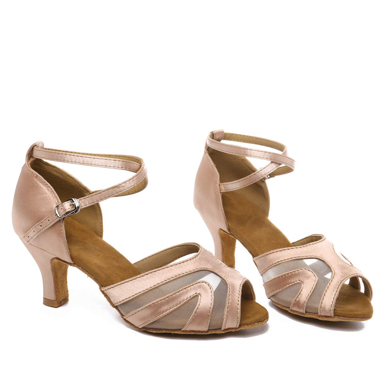 Nude JZNX Professional Latin Dance shoes Satin Salsa Dancer shoes Ballroom Tango Dancing shoes Z02 for Women with 2.4  Heel