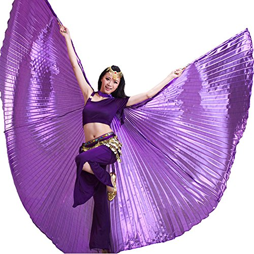 Exotic Wing - YINUOWEI Women Exotic Belly Dance Isis Full Wings, Belly Dance Opening Isis Wings, Egypt Costume Gift for Party, 360 Degree Extension (Purple(Full))