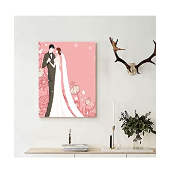 Liguo88 Custom Canvas Wedding Decorations Bride And Groom Getting Married Dancing On Pink Floral Background Wall