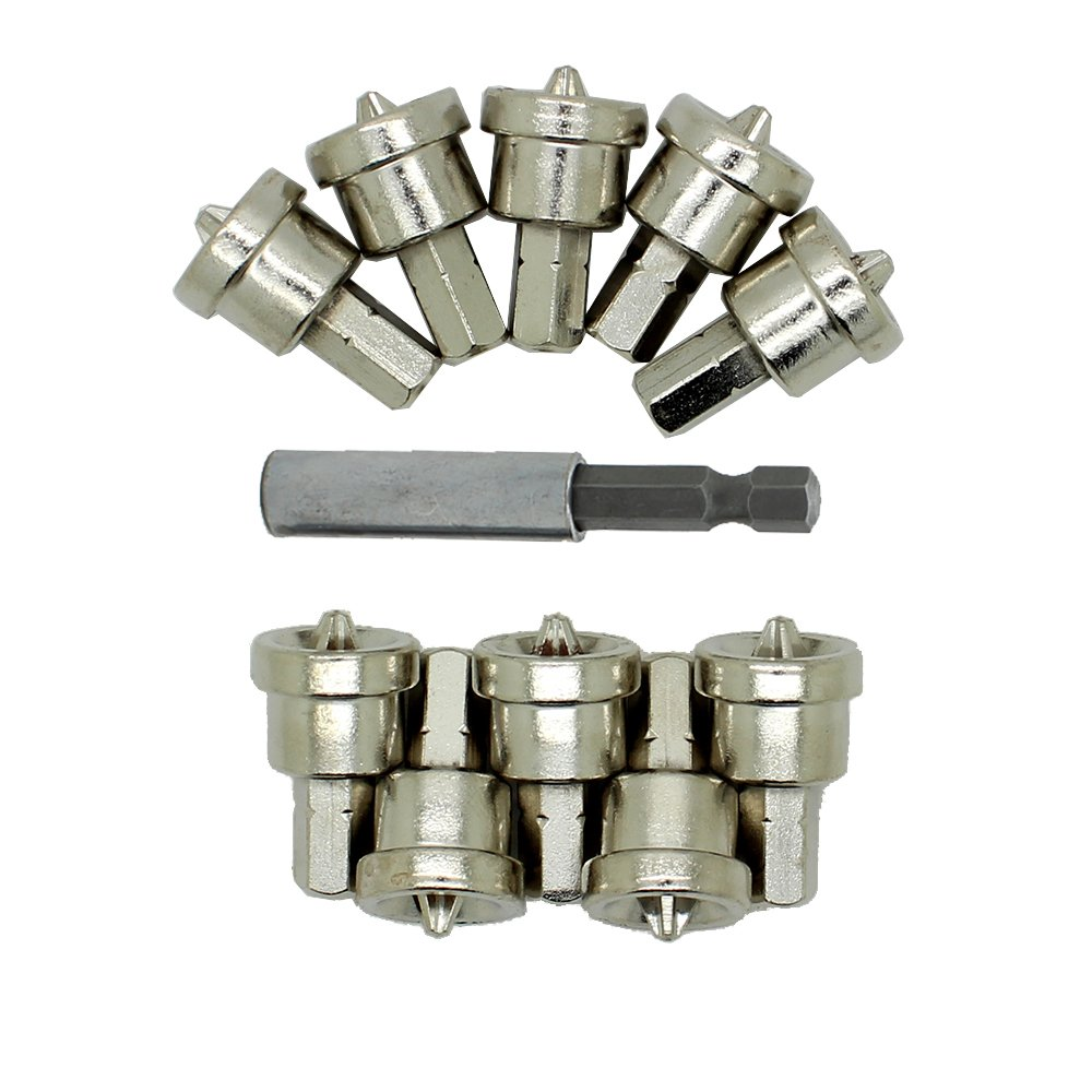 AUTOTOOLHOME 10pc Drywall Screw Bits Setter Dimpler PH2 Magnetic Bit Holder for Plasterboard
