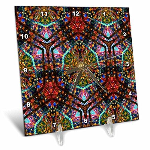 Lee Hiller Designs Kaleidoscope - Kaleidoscope Jewel Tone Tapestry - 6x6 Desk Clock (dc_12806_1)