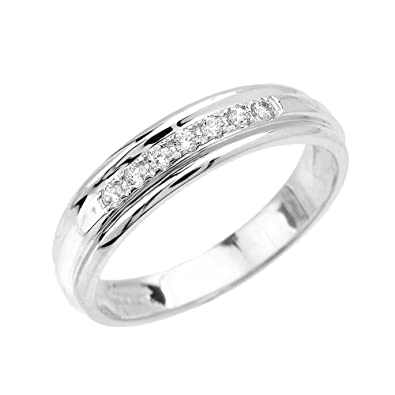 White Gold Wedding Band.Men S 14k White Gold Diamond Wedding Band Amazon Com