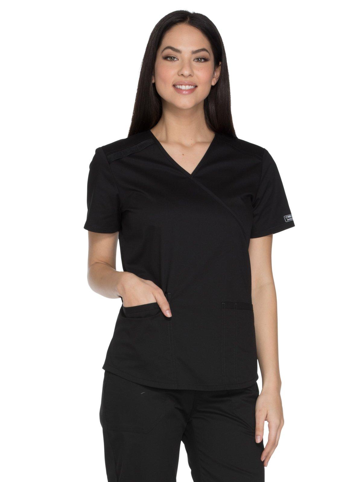 Cherokee Workwear Core Stretch WW640 Women's Mock Wrap Solid Scrub Top (Black, Small)