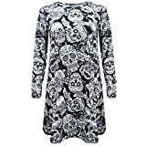 Software : Halloween Costume, Kimloog Women Skull Floral Print Long Sleeve Hallowmas Party Casual Funny Short Mini Dress (2XL, Black)