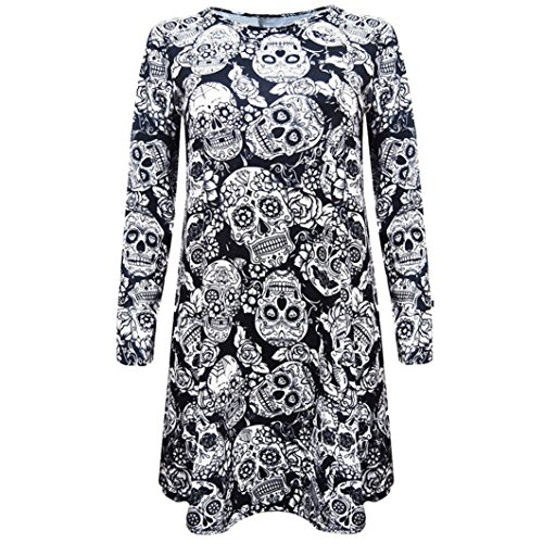 Halloween Costume, Kimloog Women Skull Floral Print Long Sleeve Hallowmas Party Casual Funny Short Mini Dress (XL, -