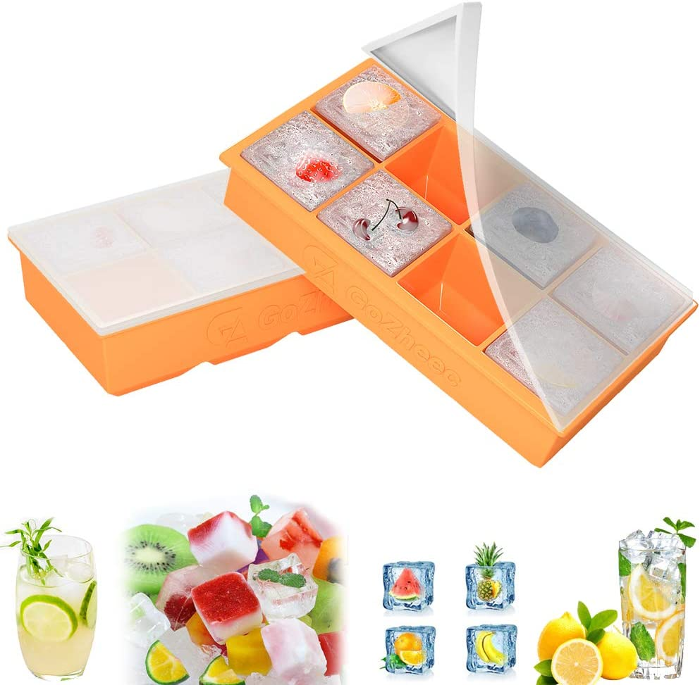 Molde de cubitos de hielo con tapa, 2 bandejas de cubitos de hielo 8 compartimentos Contenedor de cubitos de hielo de silicona para cerveza, whisky (naranja)