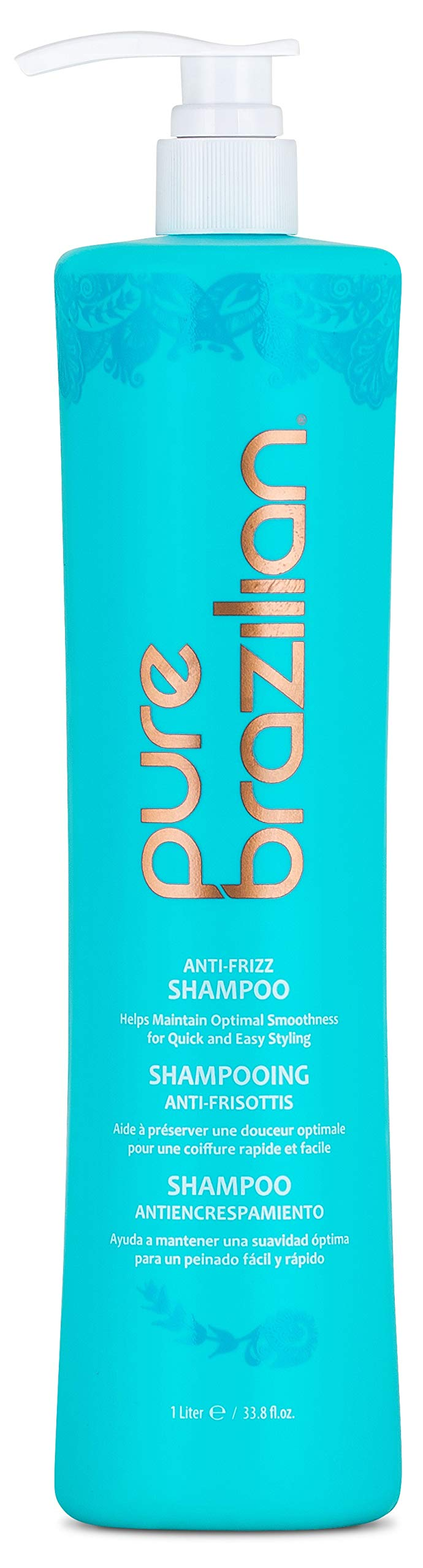Pure Brazilian - Anti Frizz Daily Shampoo With Pump-Salt-Free, Color Safe, With Keratin, Argan Oil, and Acai (1 Liter/ 33.8 Fl. Ounces) by Pure Brazilian