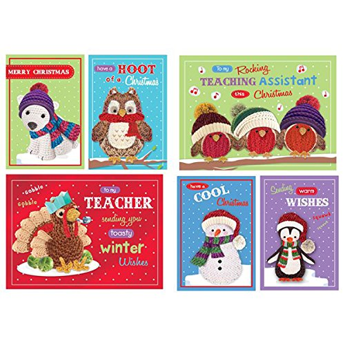 - Fancy Classic Collection School Christmas Card Set 'Knitted Characters' Pk32