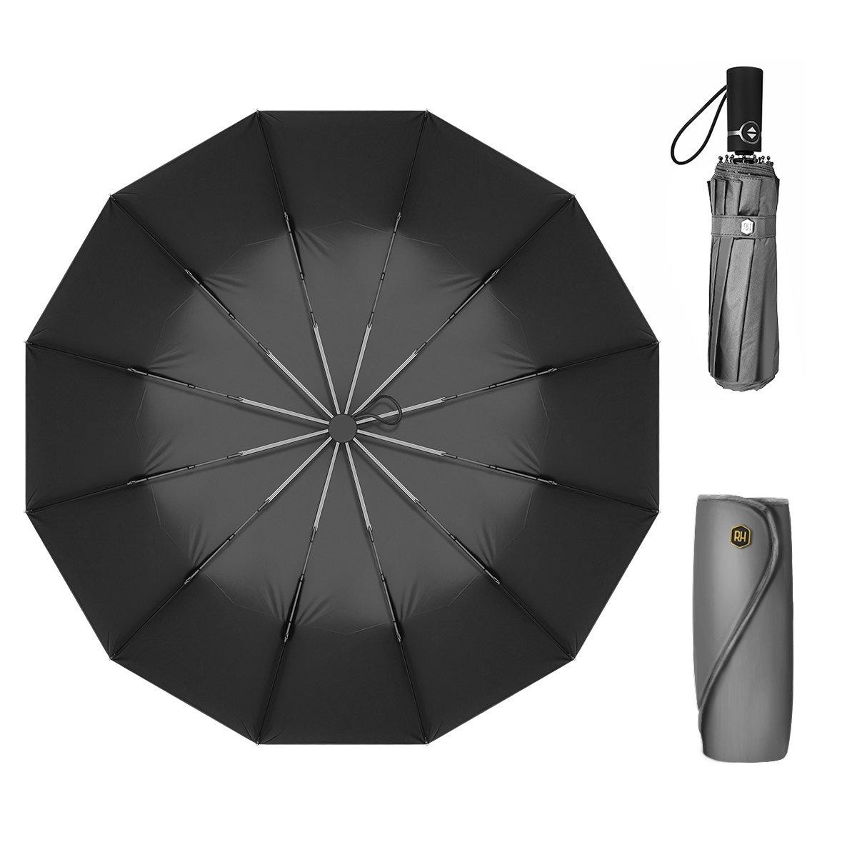 12 Ribs Travel Umbrella Windproof-Compact Umbrella Foldable with Auto Open/Close- Simplified Design Umbrella for Men&Women Ruxy Humy (Gray)