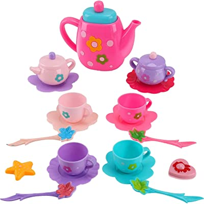 Liberty Imports Princess Royal Tea Set Pretend Playset - Kids Tea Party Play Food Accessories Kitchen Toy Teapot Gift Set for Girls (21-Piece): Toys & Games