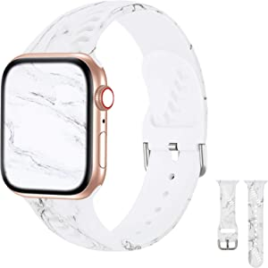 iWabcertoo Sport Band Compatible with Apple Watch 38mm 40mm, Soft Silicone Fadeless Strap Replacement Bands for iWatch SE &Series 6/5/4/3/2/1,Sport Edition Women Men (Marble)