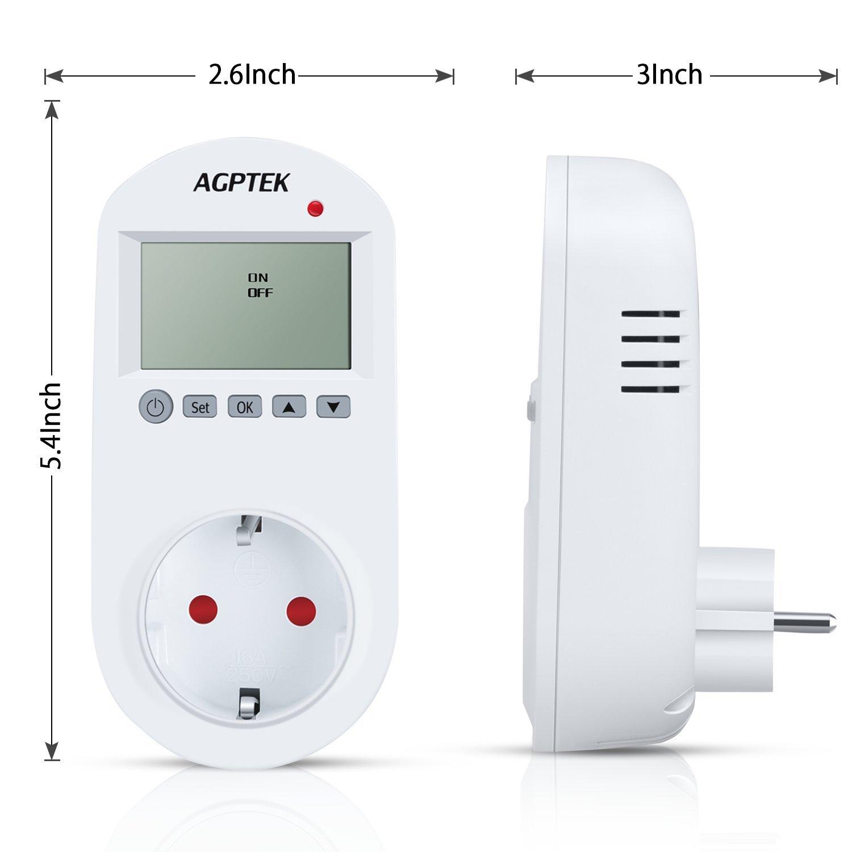 AGPTEK Termostato Enchufe Control, Regulador Enchufe del de Temperatura Interruptor del temporizador, 6 Periodos Programable, LCD Pantalla por Aire ...