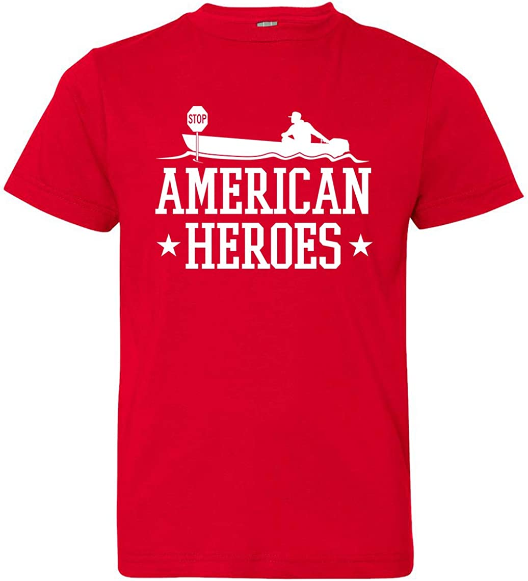 Red Tenacitee Boys Youth American Heroes T-Shirt X-Large