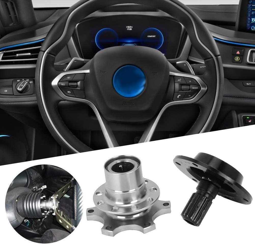 Qiilu Steering Wheel Quick Release,Universal 6 Hole Steering Wheel Quick Release Disconnect Hub Adapter Kit Car Repair Tool Black