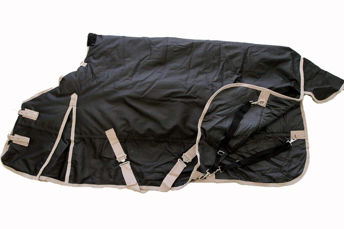 AJ Tack Wholesale 1200D Horse Turnout Blanket Heavy Weight Water Proof 400g Fill Black