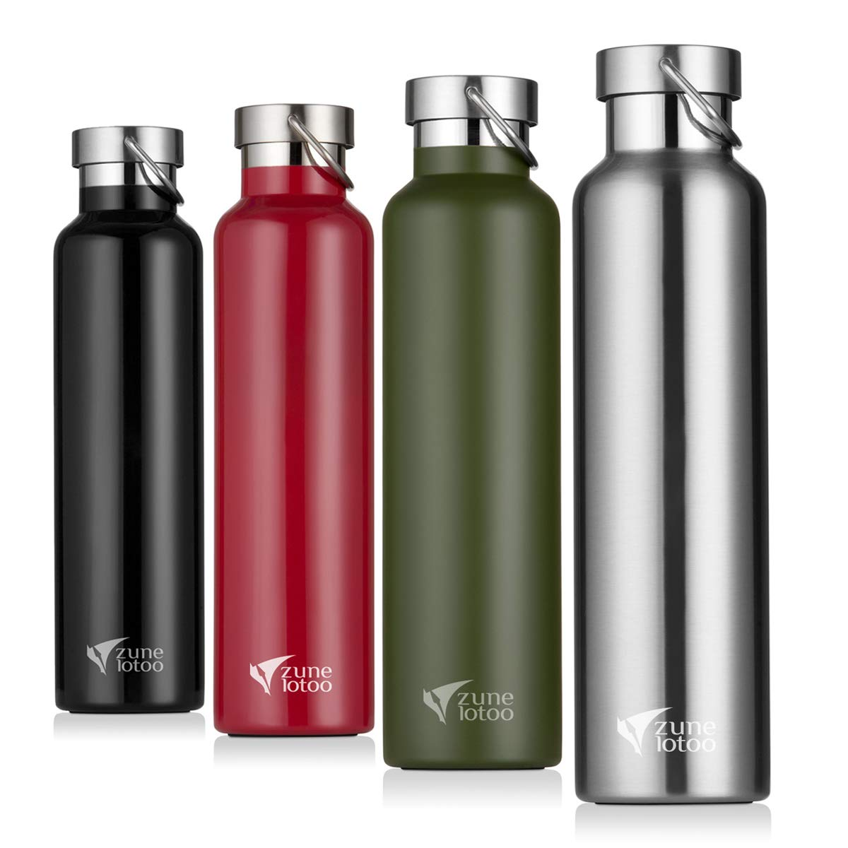 Zune Lotoo Stainless Steel Water Bottle 26oz- Wide Mouth Vacuum Insulated 18/8 Stainless Steel with Leak Proof Flex Cap for Camping,Hiking,Sports