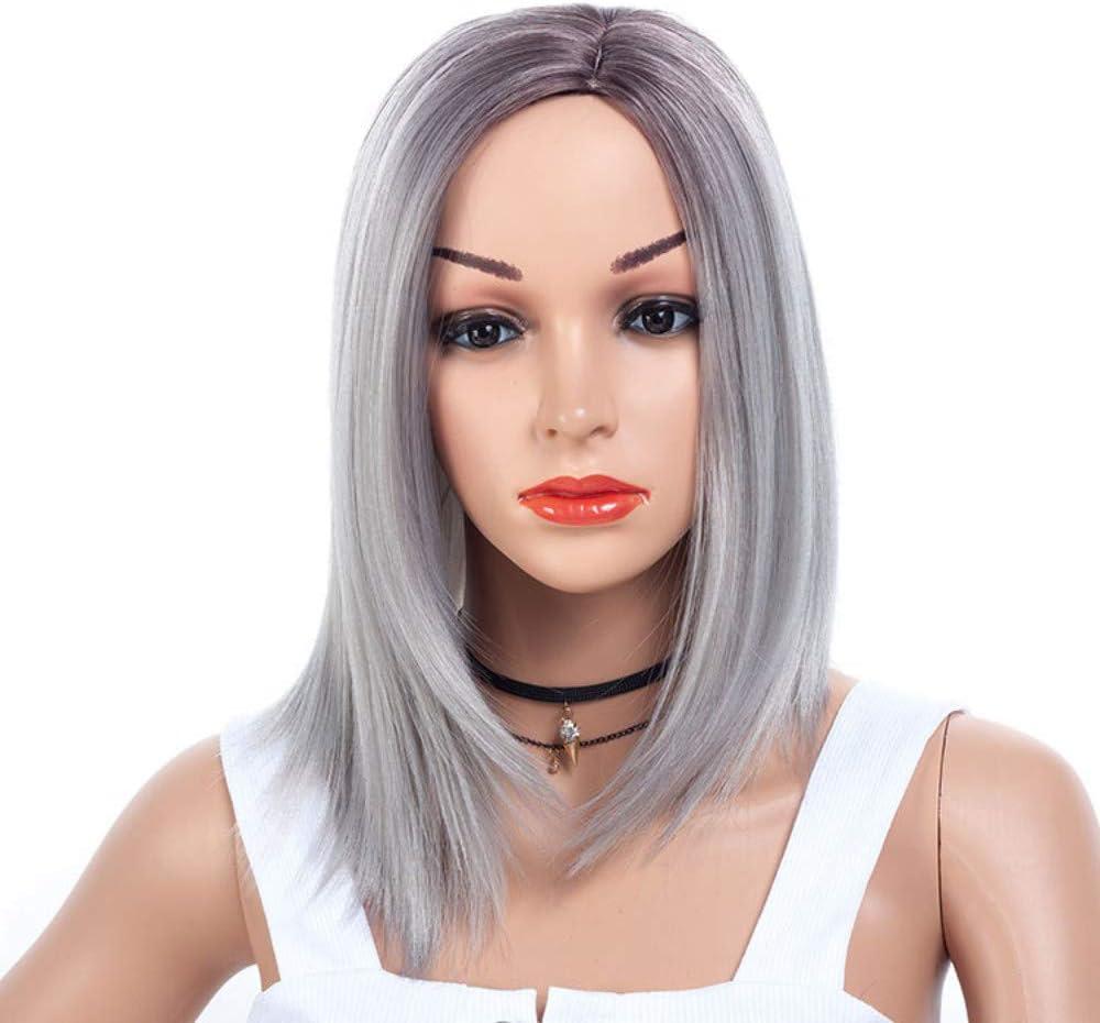 Peluca de pelo liso largo medio fibra química peluca hembra ...