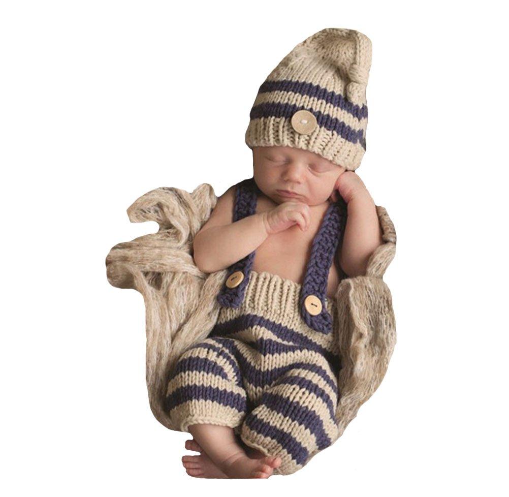 CX-Queen Baby Photography Prop Crochet Knit Boy Stripe Hat Pants Overalls