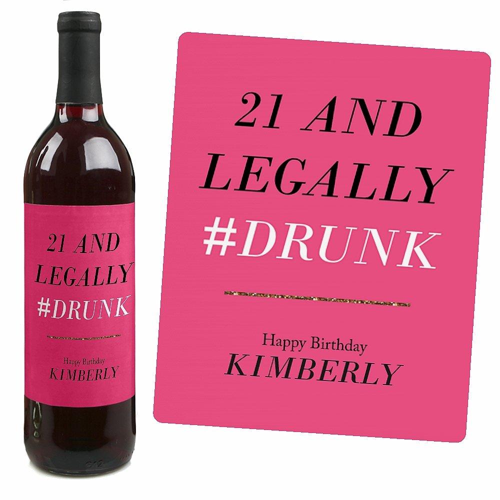 Amazon.com | Custom Finally 21 - Girl - Party Wine Bottle Labels ...