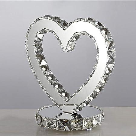 TDOOK Lámpara de Mesa con Forma de corazón Transparente de Cristal ...