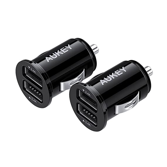 AUKEY Car Charger, Ultra Compact Dual Port 4 8A Output (2-Pack) for iPhone  iPad Samsung & Others - Black