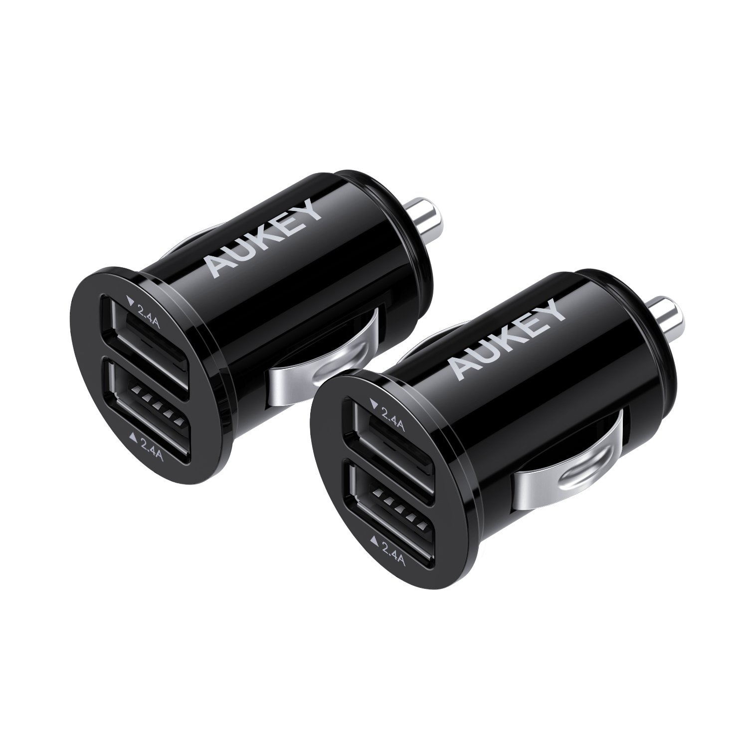 AUKEY Car Charger, ULTRA COMPACT Dual Port 4.8A Output (2-Pack) for iPhone iPad Samsung & Others - Black