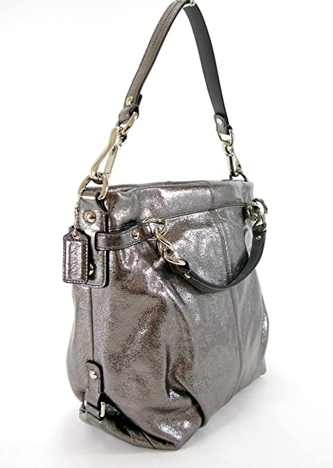 77db2d6675f2d Amazon.com  Coach Metallic Crinkled Leather Brooke Hobo Handbag 17165 Pewter  Silver  Shoes