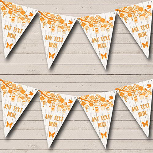Shabby Chic Vintage Wood Orange Personalized Birthday Party Bunting Banner