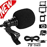 Paladou Lavalier Lapel Microphone 3.5mm Mic Pro Best for iPhone Android Smartphones Recording/Youtube/Podcast/Voice Dictation/Video Conference/Studio/Interview/Condenser Cell Phone (Black)