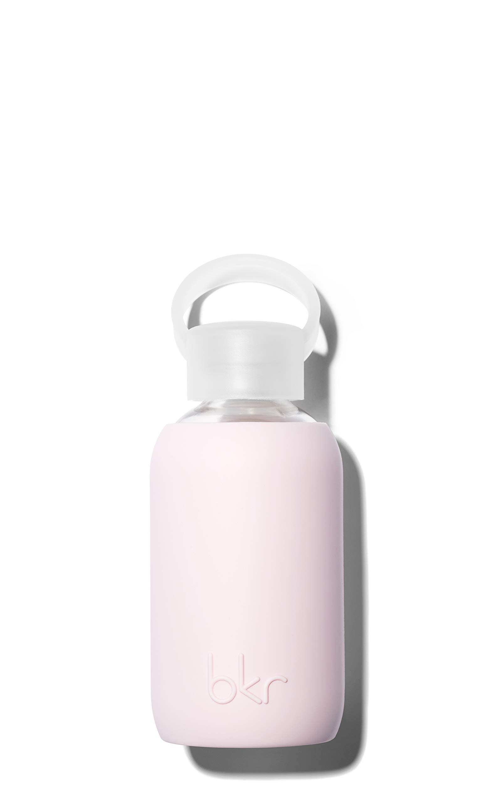 bkr Air Kiss Glass Water Bottle with Smooth Silicone Sleeve for Travel, Narrow Mouth, BPA-Free & Dishwasher Safe, Opaque Socialite Sweetheart Pink, 8 oz / 250 mL