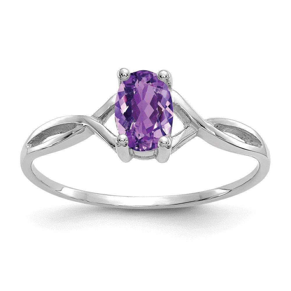 Mia Diamonds 14k White Gold Amethyst Birthstone Ring