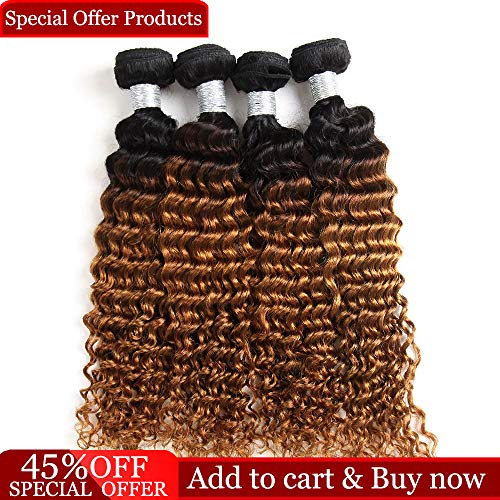 Dingfeng Hair 7A Grade Ombre Brazilian Virgin Hair Deep Curly Wave 4 Bundles Wholesale Price Of Factory 100% Unprocessed Human Hair Extensions(18 18 20 20, 1b/30deep 67g/bundle)