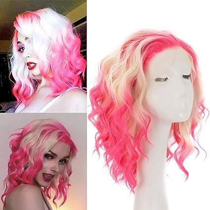Rainbow Snow 613 Peluca de pelo sintético con encaje en la ...