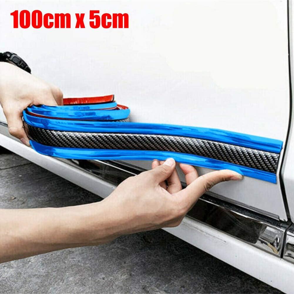 Veronivan Car Door Sill Protector Carbon Fiber Moulding Strip Car Rear Trunk Sill Plate Scuff Plate Strip WithAnti-Scrape Rubber Bumper Guard
