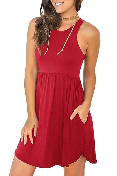 b29ef8402fa5 Jeazi Women s Summer Sleeveless Mini Loose Plain Dresses Casual T Shirt  Short Dress with Pockets Red