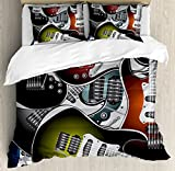 Popstar Party Duvet Cover Set Queen Size by Ambesonne, Pile of Graphic Colorful Electric Guitars Rock Music Stringed Instruments, Decorative 3 Piece Bedding Set with 2 Pillow Shams, Multicolor