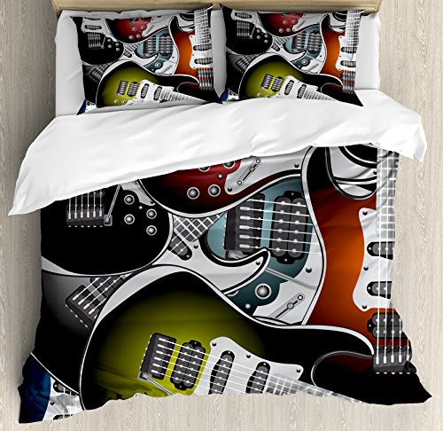 Popstar Party Duvet Cover Set Queen Size by Ambesonne, Pile of Graphic Colorful Electric Guitars Rock Music Stringed Instruments, Decorative 3 Piece Bedding Set with 2 Pillow Shams, - Star Colorful Rock
