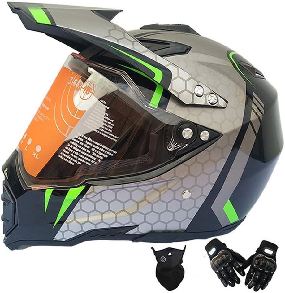成人用モトクロスヘルメットバイザーグローブ付きマスク、バイク用クロスヘルメットセットフルフェイスマウンテンバイク用ヘルメットオフロードヘルメットセットバイク用クラッシュヘルメットプロテクティブギア、グレー,XL