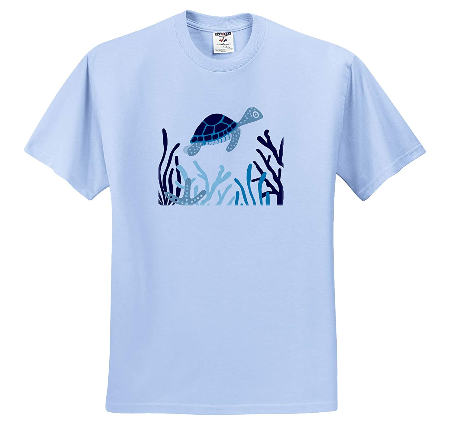 3dRose Janna Salak Designs Under The Sea ts/_310703 Sea Turtle Blue Seaweed and Coral Adult T-Shirt XL
