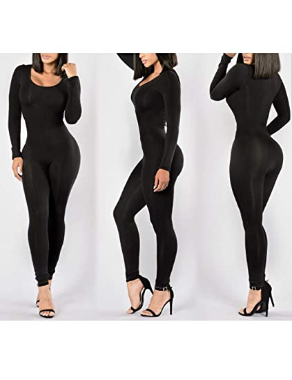 453fe41a955 Amazon.com  Naliha Women Sports Jumpsuits Long Sleeve Skinny Night Out  Jumpsuit Rompers  Clothing