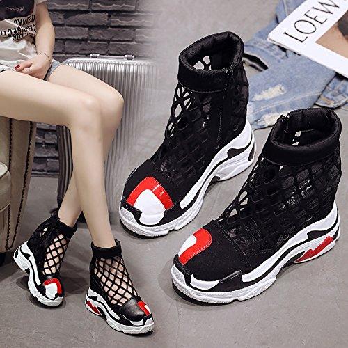 Cm Cuña Casual Transpirable Malla Zipper Femenino Calzado black Zapatos Tacones Plataforma 12 Leather Las Calzado Femenino Mujeres Deportivo De De amp;G NGRDX Altos ZwqAxSEOq