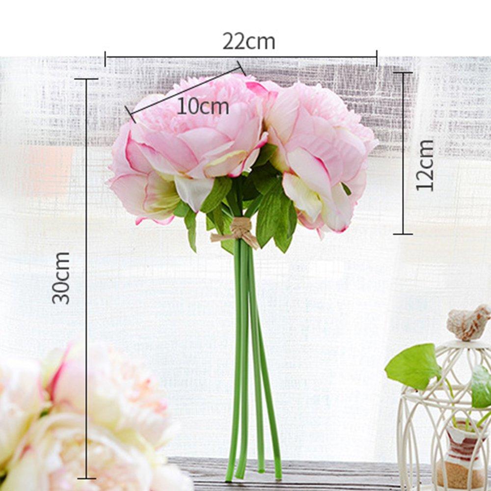 Flores artificiales, flores de seda de peonía, 5 ramos de cabeza para el hogar, ramo de boda, arreglos florales para decoración del hogar, fiesta, centros de decoración floral