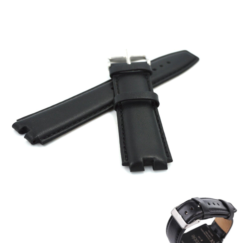 MOTONG Pebble Steel 2 本革 防水腕時計バンド バンド バンド Pebble Steel 2 22mmラグ付き 43235-26589  ブラックレザー B01MUO453W