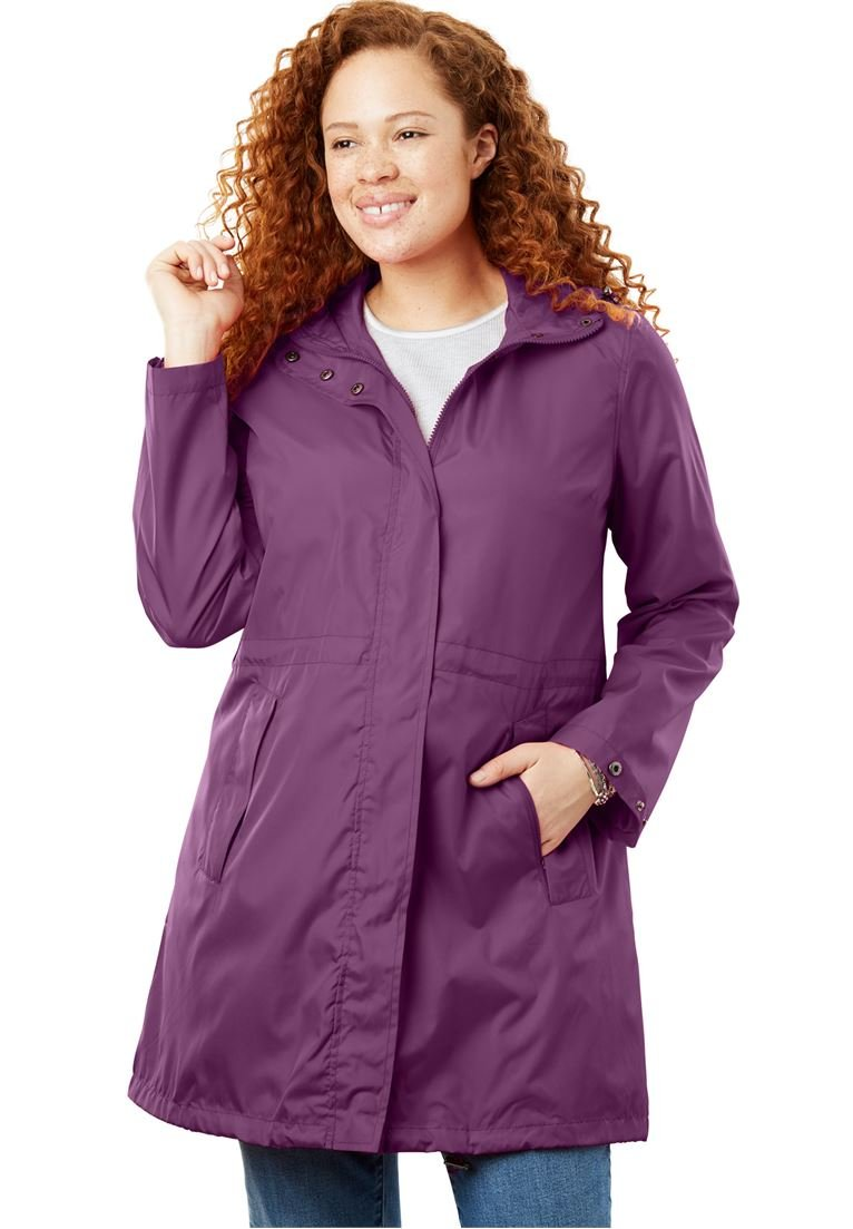 Women's Plus Size Packable Anorak Raincoat Plum Purple,24 W