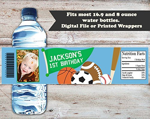 Sports Party Personalized Birthday Water Bottle Wrappers, Set of 10 Party Favors, Water Bottle Labels (Personalized Sport Label Water)