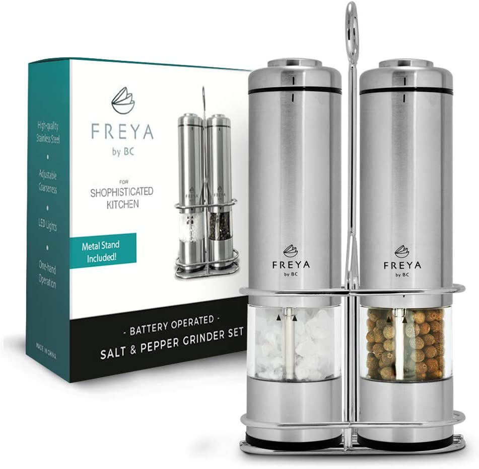 Electric Salt and Pepper Grinder Set - Battery Operated Grinder Set - Stainless Steel Pepper Shakers (2) - Tall Power Shakers with stand - Ceramic Grinder with led lights and Adjustable Coarseness